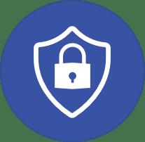slide 68 secure icon blue