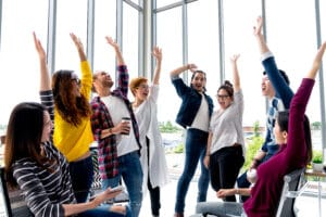 Employees Enjoying themselves in the workplace